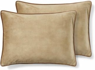 An Image of Castele Set of 2 Velvet Cushions, 35 x 50cm, Caramel