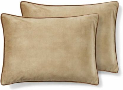 An Image of Castele Set of 2 Velvet Cushions, 35 x 50cm, Caramel