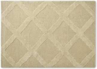 An Image of Naylor Textured Wool Rug, Large 160 x 230cm, Ecru Diamond