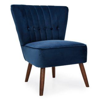 An Image of Isla Velvet Cocktail Chair - Midnight Midnight Blue