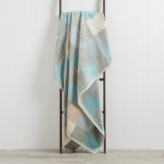 An Image of Thermosoft Squares 150cm x 200cm Blanket Duck Egg Blue