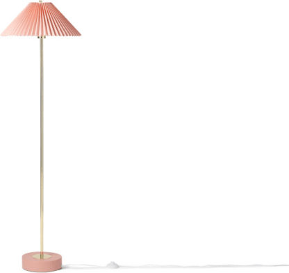 An Image of Gaby Pleated Floor Lamp, Brass & Pink