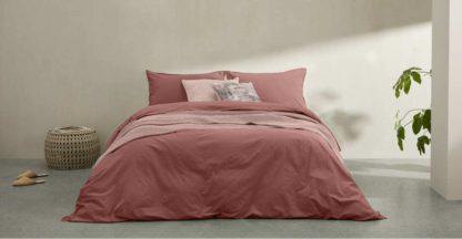 An Image of Alexia Stonewashed Cotton Duvet Cover + 2 Pillowcases, Double, Dark Rose UK
