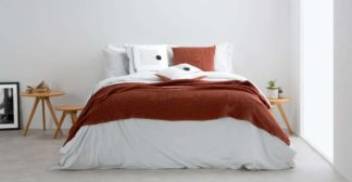 An Image of Grove 100% Cotton Stonewashed Waffle Bedspread,150 x 200cm, Terracotta