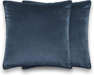 An Image of Julius Set of 2 Velvet Cushions, 45 x 45cm, Ink Blue