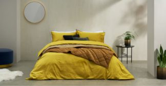 An Image of Hylia Washed Cotton Satin Duvet Cover + 2 Pillowcases, Super King, Antique Gold