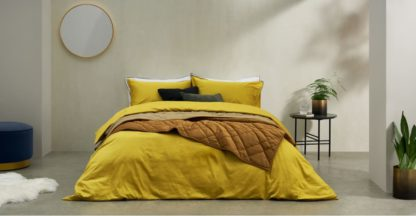 An Image of Hylia Washed Cotton Satin Duvet Cover + 2 Pillowcases, Double, Antique Gold
