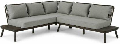 An Image of Alif Garden Corner Lounge set, Concrete, Grey and Grey Eucalyptus