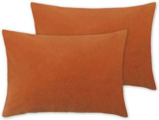 An Image of Lorna Set of 2 Velvet Cushions, 35 x 50cm, Papaya