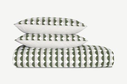 An Image of Venn Cotton Duvet Cover + 2 Pillowcases, King, Cypress Green/Silver Grey