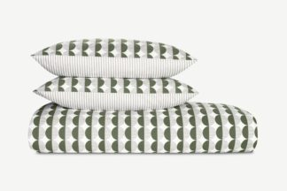 An Image of Venn Cotton Duvet Cover + 2 Pillowcases, Double, Cypress Green/Silver Grey