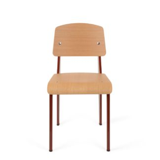 An Image of Vitra Prouvé Standard Chair Red/Oak