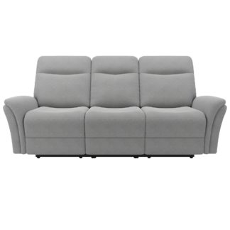 An Image of Monte Chenille Reclining 3 Seater Sofa Light Grey