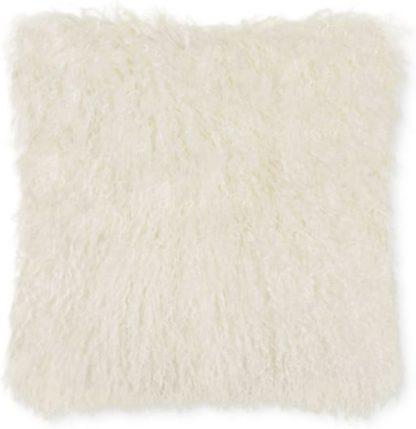 An Image of Haddie Mongolian Fur Cushion 45 x 45cm, Ivory