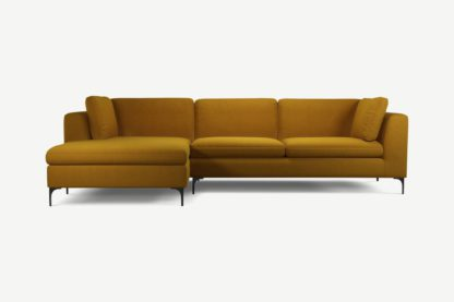An Image of Monterosso Left Hand Facing Chaise End Sofa, Vintage Mustard Velvet with Black Leg