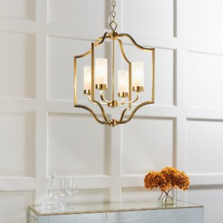 An Image of Endon Edrea 4 Light Ceiling Fitting Brass Yellow