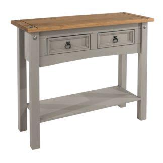 An Image of Corona Grey 2 Drawer Hall Table with Shelf Grey