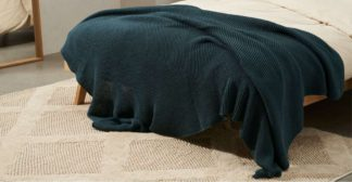 An Image of Brawley 100% Cotton Knitted Throw, 130 x 170cm, Pine Green