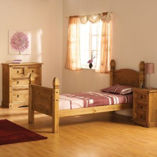 An Image of Corona Mexican High Foot End Bed Frame Brown