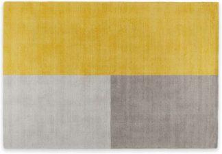 An Image of Elkan Wool Tufted Rug, Small 120 x 170cm, Block Mustard
