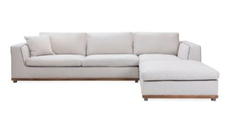 An Image of Porada Kirk Left hand Corner Sofa 3 Back Cushions Walnut Frame