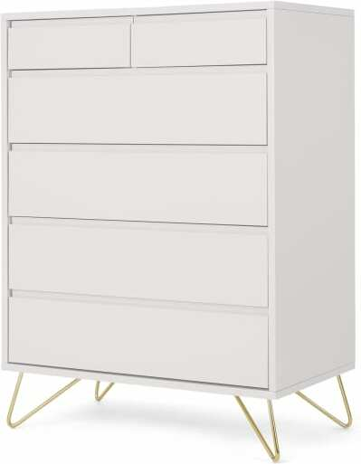An Image of Elona Tall Multi Chest of Drawers, Ivory White & Brass