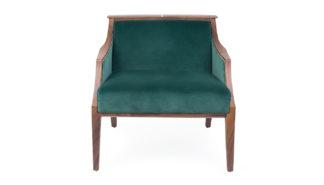 An Image of Porada Liala Easy Chair Walnut Velvet