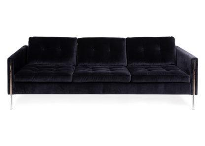 An Image of Ligne Roset Andy Large Sofa Varese Velvet Raven Chrome Legs