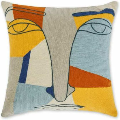 An Image of Abstract Face Embroidered Cushion 40 x 40cm, Multi