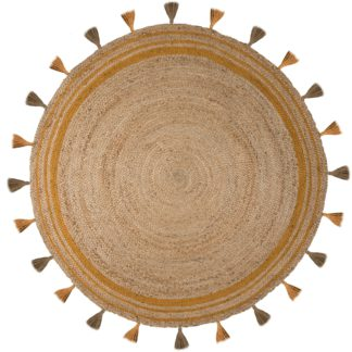An Image of Istanbul Jute Circle Rug Yellow and Brown