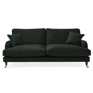 An Image of Rupert 4 Seater Velvet Sofa Bottle (Green)
