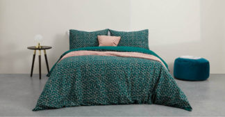 An Image of Annie Cotton Duvet Cover + 2 Pillowcases, Double, Peacock Green UK