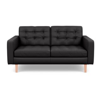 An Image of Heal's Hepburn 2 Seater Sofa Leather Grain Graphite 063 Natural Feet