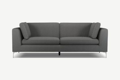 An Image of Monterosso 3 Seater Sofa, Elite Grey with Chrome Leg