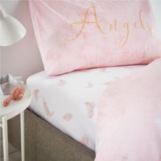 An Image of Catherine Lansfield Angel Blush Fitted Sheet Blush (Pink)