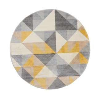 An Image of Geo Squares Circle Rug Yellow, Grey and White