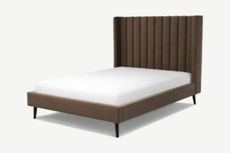 An Image of Custom MADE Cory Double Bed, Mushroom Taupe Cotton Velvet with Black Stained Oak Legs