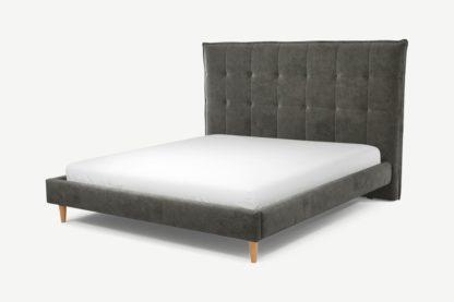 An Image of Custom MADE Lamas Super King Size Bed, Steel Grey Velvet with Oak Legs
