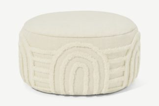 An Image of Raina Pouffe, Off White Tufted New Zealand Wool