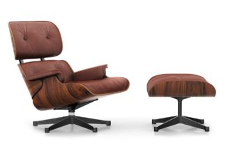 An Image of Vitra Classic Eames Lounge Chair & Ottoman in Santos Palisander & Brandy