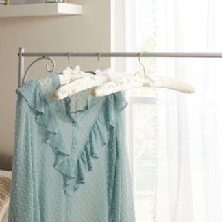 An Image of Set of 3 Luxe Ivory Satin Hangers Ivory