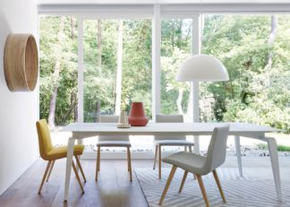 An Image of Ligne Roset Odessa Dining Table Marble Effect Ceramic Top