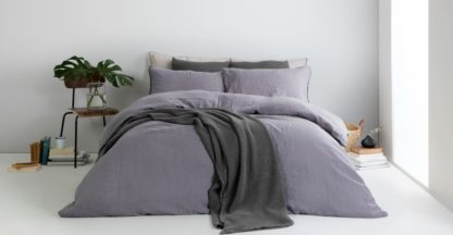 An Image of Grove 100% Cotton Stonewashed Waffle Bedspread,150 x 200cm, Charcoal