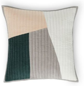 An Image of Giacomo Patchwork Velvet Cushion, 50x50cm, Peacock green & Plaster Pink