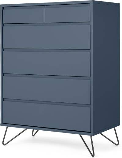 An Image of Elona Tall Multi Chest of Drawers, Slate Blue & Black