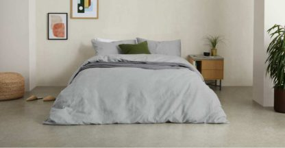An Image of Tira Linen/Cotton Duvet Cover + 2 Pillowcases, Double, Grey