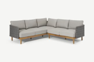 An Image of Kolbe Garden Corner Lounge Set, Grey & Acacia