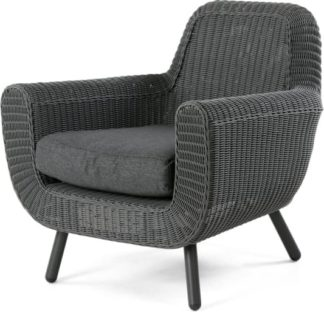 An Image of Jonah Garden Armchair, Dark Grey Poly Rattan