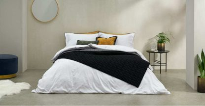 An Image of Hylia Washed Cotton Satin Duvet Cover + 2 Pillowcases, Super King, White