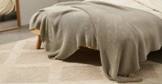 An Image of Brawley 100% Cotton Knitted Throw, 130 x 170cm, Light Taupe